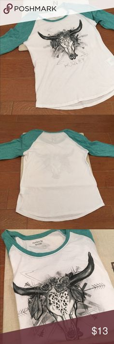 Hurley Baseball Tee Bullhead Design Size Small So cute for back to school! Teal and white baseball tee with popular bullhead print / design! No flaws :) Hurley Tops Tees - Long Sleeve