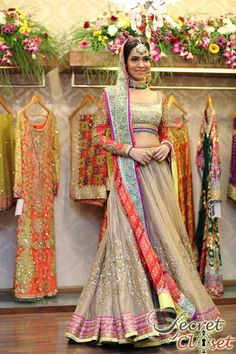 Nomi Ansari Bridal Showcase At Ensemble Lahore. Multi-Colour Embroidered #Lehenga.
