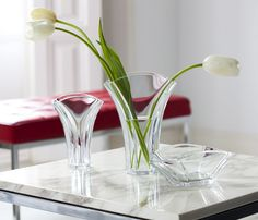 Ginkgo Crystal Vase by Baccarat. Designed in reference to the ginkgo biloba leaf, from a tree native to China. #tulips #vases #baccarat #crystal #flowers #beauty #luxury #quality #statementpiece #elegance #chic #centerpiece #homedecor #interiordesign #design #art #vancouver #vancity #bc #yvr #home #contemporary #China #Ginkgo #Biloba #Leaf #tabletop #tablesetting