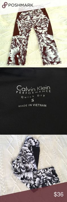 Calvin Klein Yoga Pants 3/4 Black and white designed yoga pants. Made of a wicking material that allows for quick drying that contains 91% Nylon, and 9% spandex. Also has high waisted slimming compression aspect making it more comfortable to work out. 🏋 Calvin Klein Pants Leggings