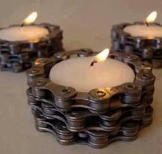 Candlestick - recycled - bicycle chain