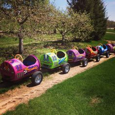 Our Barrel Train has a brand new look! Kids Outdoor Play, Backyard For Kids, Outdoor Toys, Outdoor Fun, Kids Yard, Barrel Train, Barrel Projects, Play Mobile, Play Yard