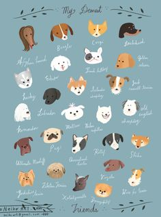 """MY DEAREST FRIENDS : A delightful poster of doggie pals by the illustrator Neiko — a self described """"corgi-addict""""! (© 2014 Neiko Ng All rights reserved.)"""