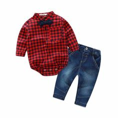 Baby 2 pcs Set 100% Cotton Long Sleeve Rompers + Jeans Clothing Set