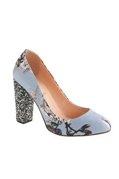 J Crew Etta pumps floral fabric and sparkly heel. These are my Cindarella shoes. Screw the prince, I'm keeping both shoes! #jcrew #myshoestory