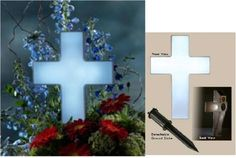 Solar Lights for Gravesites | The Eternal Light cross offers a soft glow by night, paying eternal ...