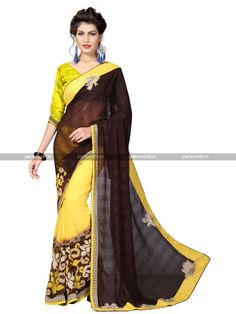 Brown N Yellow Weightless Lovely Casual Saree