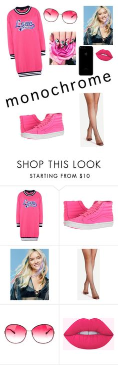 """Moschino Pink"" by avery-dewan ❤ liked on Polyvore featuring Love Moschino, Vans, Free People and Oliver Peoples"