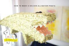 How to make a golden alligator pinata