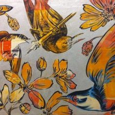 Birds Autumn on Silver 2 by David Bromley