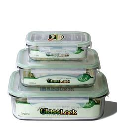 Kinetic Glass lock 1317 Rectangular Glass Food-Storage Containers with Locking Lids, Set of 3