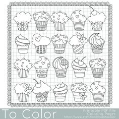 Cupcake Coloring Page for Grown Ups - Instant Download
