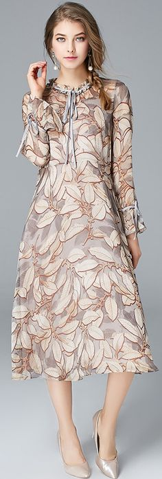 Beige Ruffled Collar Print Dress