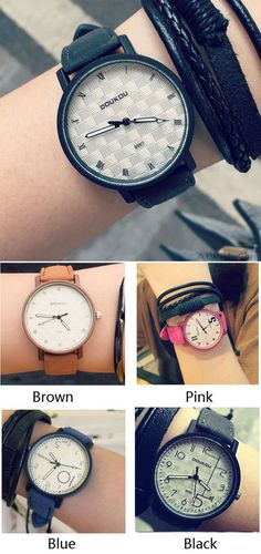 Which color do you like? Fashion Unique Personality Dial Leather Women Wrist watch #watch #leather #unique #fashion #women #accessories