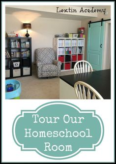 Lextin Academy of Classical Education: Tour Our Homeschool Room {2015-2016} A peek at our new homeschool room with colorful notebooks, organized read alouds, and our IKEA inspired table and bookshelves. #homeschool #schoolroom