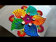 Easy and beautiful rangoli design using kitchen utensils for Diwali