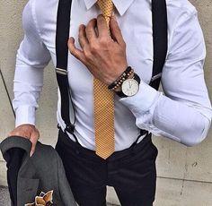 Men with white shirt & work suspender
