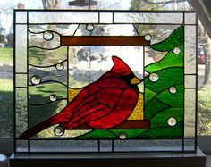 stained glass cardinal bird | The light gray background is wavy and reminds me of the wind, the ...