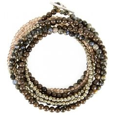 Brunello Cucinelli stone beaded wrap bracelet. Rhyolite, pyrite, and brown agate quartz..FW 2013.