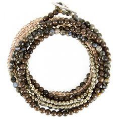 Brunello Cucinelli stone beaded wrap bracelet. Rhyolite, pyrite, and brown agate quartz..FW 2013.