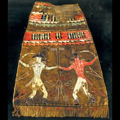 Shawnee quilled bag depicting sword battle between British and American officers ca.1780.