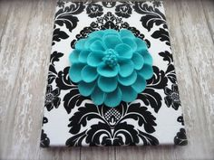 """Dahlia """"Teal"""" Felt Dahlia Wall Flower with Black and White Damask Fabric Backing. More Colors Available. Painting Kids Furniture, Painting For Kids, Kids Room Paint, Kids Rooms, Teal Walls, White Damask, Flower Crafts, Flower Wall, Fabric Decor"""