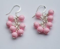 Light Pink Glass Bead Cluster Earrings by creationsbycandice