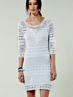 Белое платье крючком. Филейное вязание. Схема и выкройка