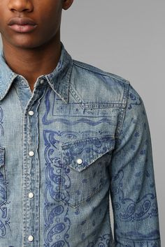 Remi Relief Bandana Print Denim Shirt