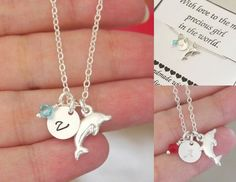 Dolphin Necklace, Personalized Initial Necklace, Little Girl Necklace, Niece Birthday Necklace, Birthday Party Favor, Dolphin Jewelry