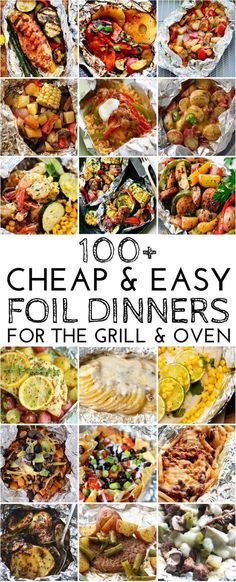 I love foil dinners because they are cheap, easy to make, and packed with flavor! Foil pack dinners have quick prep times and very little clean up, making them perfect for busy nights! Oven Chicken Foil Pack Dinners Chicken and Vegetable Foil Packets fr Tin Foil Dinners, Foil Packet Dinners, Foil Pack Meals, Cheap Dinners, Hobo Dinners, Cheap Meals For Two, Budget Dinners, Grilling Recipes, Cooking Recipes