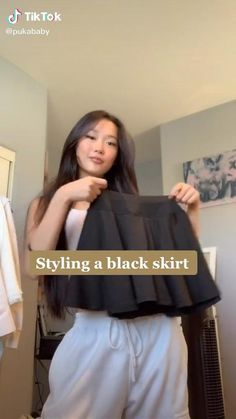Bad Girl Aesthetic, Aesthetic Clothes, Black Korean, Black Skirt Outfits, Bad Girl Outfits, Korean Girl Fashion, Cute Skirts, Cute Casual Outfits, Ulzzang Girl