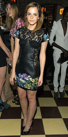 EMMA WATSON Emma adds a little edge to a London Show Rooms event in New York in a floral-embroidered leather-and-lace dress and Casadei pumps. Emma Watson Beautiful, Emma Watson Style, Valentino Couture, Beauty And Fashion, Fashion Looks, Christopher Kane, Emma Watson Red Carpet, Flame Design, Evolution Of Fashion