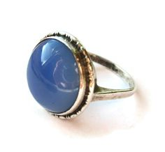 SOLD. Art Deco blue agate ring, vintage sterling silver, dusky cornflower blue chalcedony stone, large cabochon, 1930s jewellery, 30s ring. https://www.etsy.com/uk/inglenookery/listing/492643304/art-deco-blue-agate-ring-vintage
