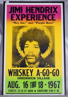 Jimi Hendrix Experience - Original poster that announces what it says on the poster - Size: 57,7x37,1cm