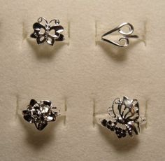 Size 7 Mixed Lot of 4 Butterfly Silver Rings Plated Sale! FREE Shipping! PROM!