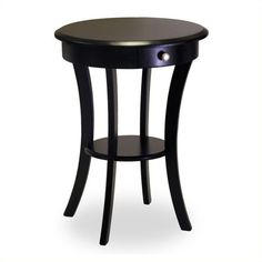 Winsome Wood Sasha Round Accent End Table with Drawer Curved Legs (90 CAD) ❤ liked on Polyvore featuring home, furniture, tables, accent tables, black, winsome table, drawer shelf, black chairside table, storage side table and storage end table