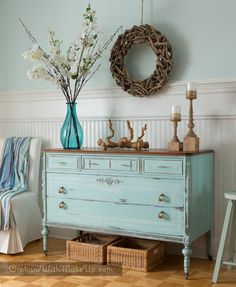 Hello friends, If you love turquoise then you are absolutely going to love this new limited-edition colour from Country Chic Paint called Ocean Breeze. It is one of 6 colours released in their new… Furniture Fix, Furniture Makeover, Coastal Furniture, Distressed Furniture, Cool Ideas, Beach House Decor, Beach Houses, Ocean Home Decor, Florida Home
