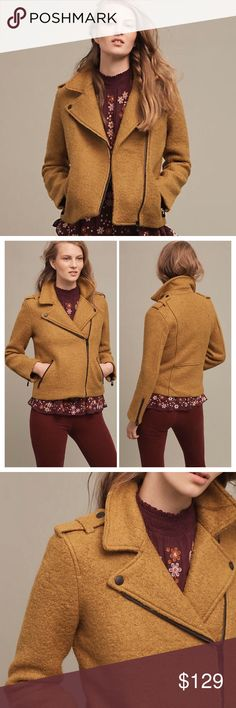 "Anthropologie Boucle Moto Jacket Sold Out! Anthropologie Boucle Moto Jacket by Cartonnier. Luxe texture, hip silhouette, and edgy zippers. Yes, please! Wool, mustard, moto jacket. Thick polyester wool shell. 55% polyester, 45% wool. Black polyester lining. Zip pockets and zip cuffs. Runs TTS. Underarm to underarm 19"", length 22.5"". Save your down jacket for playing in the snow. Anthropologie Jackets & Coats"