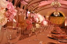 Fantastic pink and gold tinted party, opulent florals and chandeliers  Laduree style in pasadena