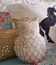 Sequined Owl Throw Pillow