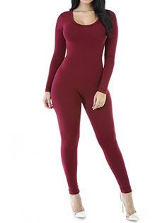 cc4e1ff7041 Red Fox Sexy Long Sleeve Round Crew Neck Catsuit Bodysuit Jumpsuit Size S  Burgundy -One Stop Apparel For Women   Details can be found by clicking on  the ...