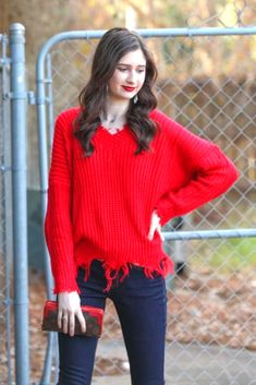Shop Jess Lea Boutique-Reese Red Frayed Sweater  #jesslea #jessleaboutique #jessleastyle #casualstyle #momstyle #casualoutfit #easyoutfit #ootd #boutique #boutiquestyle #frayedsweater #sweater #lightweightsweater #redsweater #vnecksweater #funsweater #springstyle #springoutfit #rodeosweater Sweater Outfits, Casual Outfits, Mom Style, Boutique Clothing, Spring Outfits, Gift Guide, Winter Fashion, Ootd, Skinny Jeans