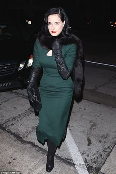 3/2/15. Dita. Wrapped up: The model kept her trademark porcelain skin mostly covered up, besides a hint of her ubiquitous clevage