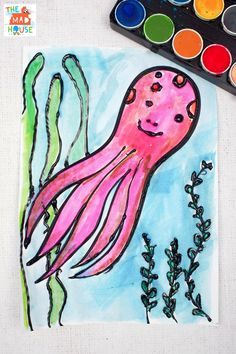 Octopus watercolour glue resist art - perfect for under the sea projects or ocean crafts