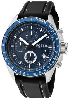 Fossil Men's Decker Chronograph Dark Blue Dial Black Silicon