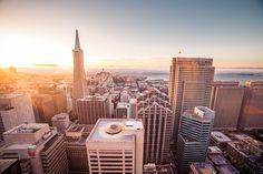 Sunset Over the Skyscrapers in San Francisco Free Stock Photo