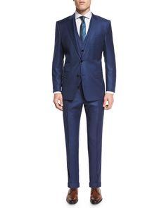 Hevans Three-Piece Wool Suit, Navy, Men's, Size: 56L (44L US), Blue - Boss Hugo Boss