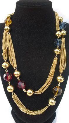 Bigiotteria Americana Vintage firmato NAPIER collana LUNGA necklace cristalli | eBay