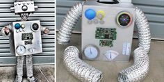 How to make the coolest Robot Costume Ever! How to make the coolest Robot Costume Ever! DIY Robot Costume<br> How to make the coolest Robot Costume Ever! Robot Halloween Costume, Halloween Kostüm, Halloween Projects, Gothic Halloween, Halloween Recipe, Women Halloween, Halloween Makeup, Diy Robot, Robot Art